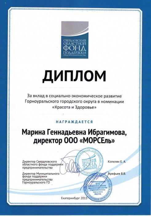 Достижения Оздоровительный центр МОРСЕль Диплом Диплом за вклад в социально экономическое развитие